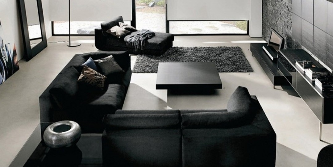 Modern black and white living room designs White and black modern living room