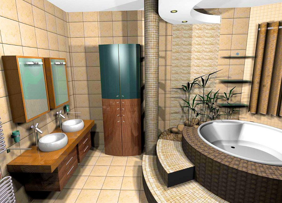 Bathroom with Plant Decorations