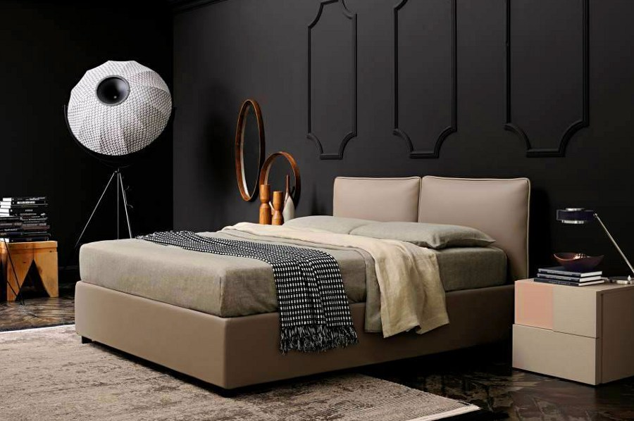Black Bedroom with Lamp Decor