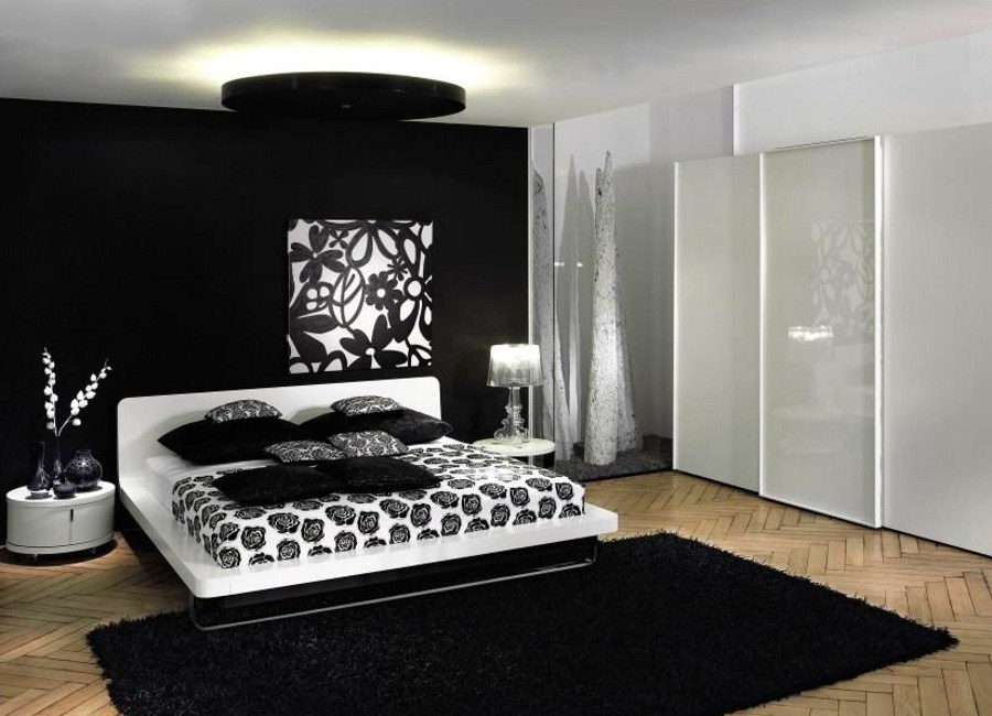 Black Bedroom with White Shelves