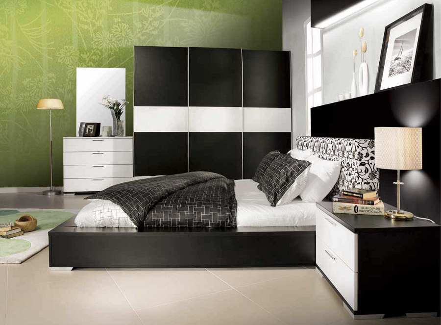 11 most elegant black bedroom designs Green and black bedroom