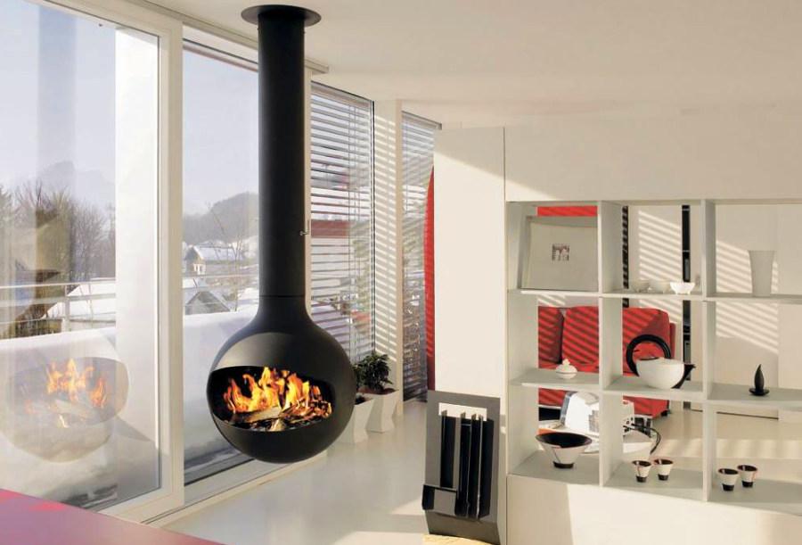 Hanging Globe Fireplace