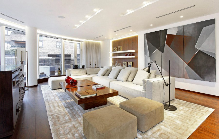 Living Room with Abstract Wall Art