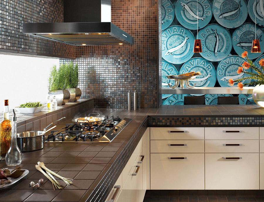 Дизайн кухонного фартука из мозаики