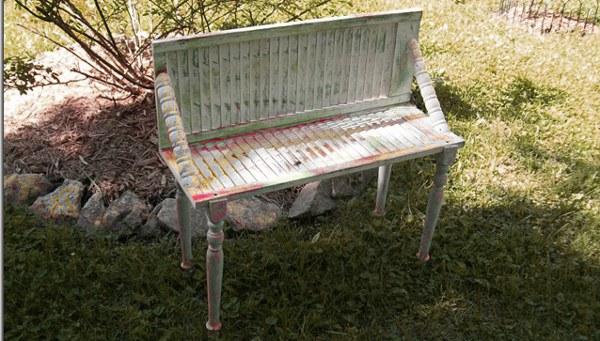 Old Shutter Garden Bench