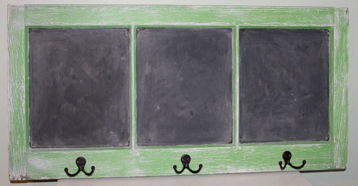 Old Window Panel Coat Rack