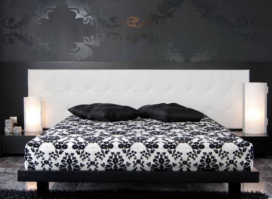 Black Bedroom with Floral Patterns