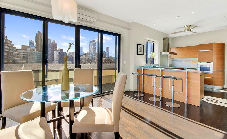 Kitchen with  City Riverside View