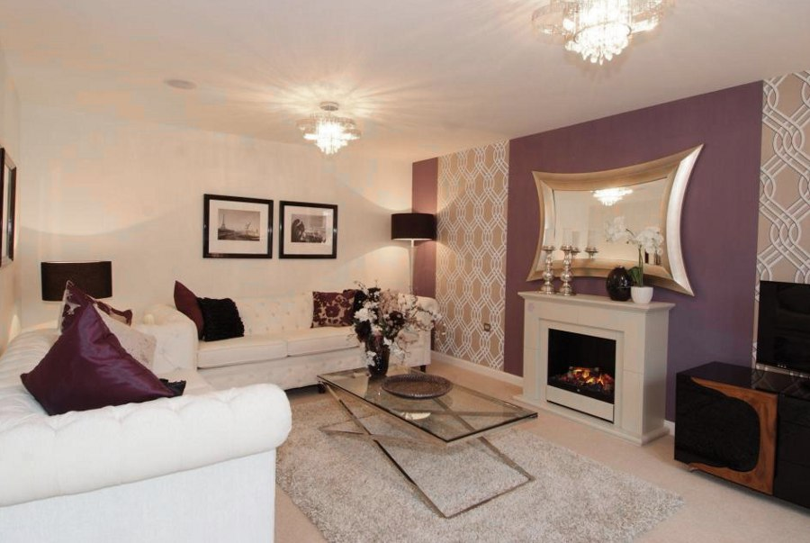 Purple Patterns Living Room with Fireplace