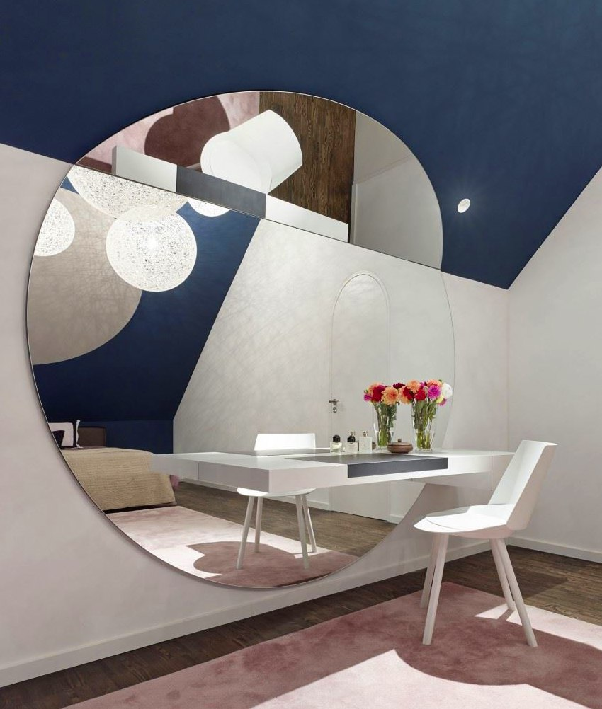 Round Wall and Ceiling Mirror