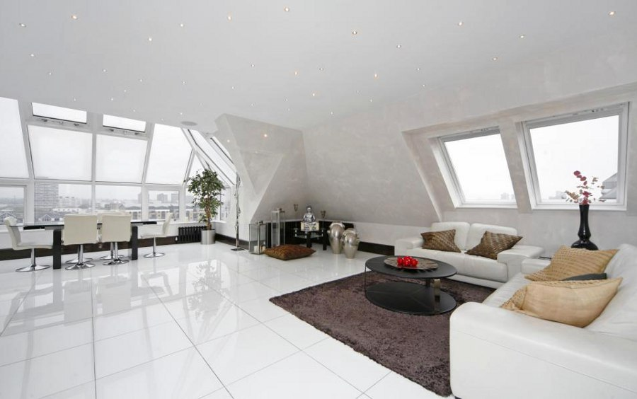 White Living Room with While Glossy Floor
