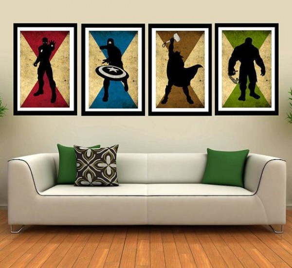 AV004MX4 - Caracters vintage poster - set of 4, thor, captain america, Ironman minimalist comics movie retro art print