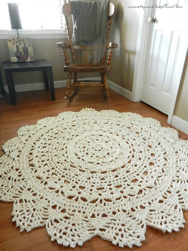 Giant Crochet Doily Rug, floor, light beige- Ecru- nude- Lace- large area rug, Cottage Chic- Oversized- Rustic chic home decor- round rug