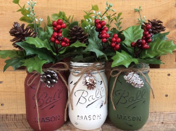 Painted Mason Jars. Christmas Decor. Vase. Home Decor. Holiday Decor. Rustic Decor. Christmas Jars. Gifts