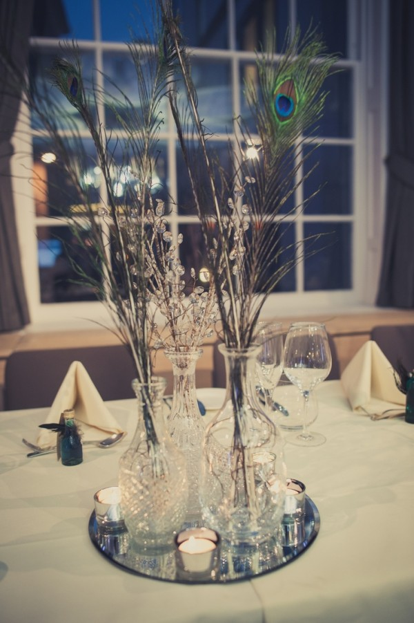Peacock Feather Centerpieces