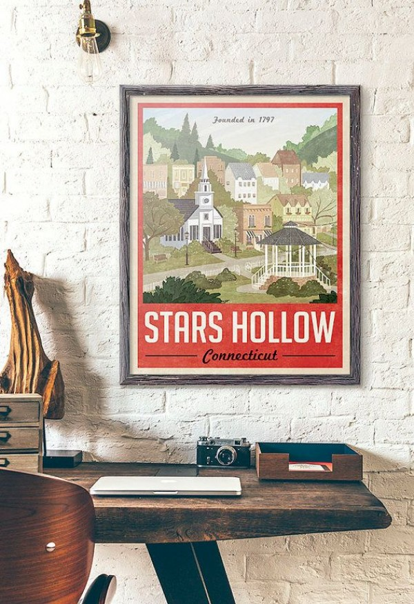 Stars Hollow Poster - Vintage Travel Poster - Inspired by Gilmore Girls (Red Version)
