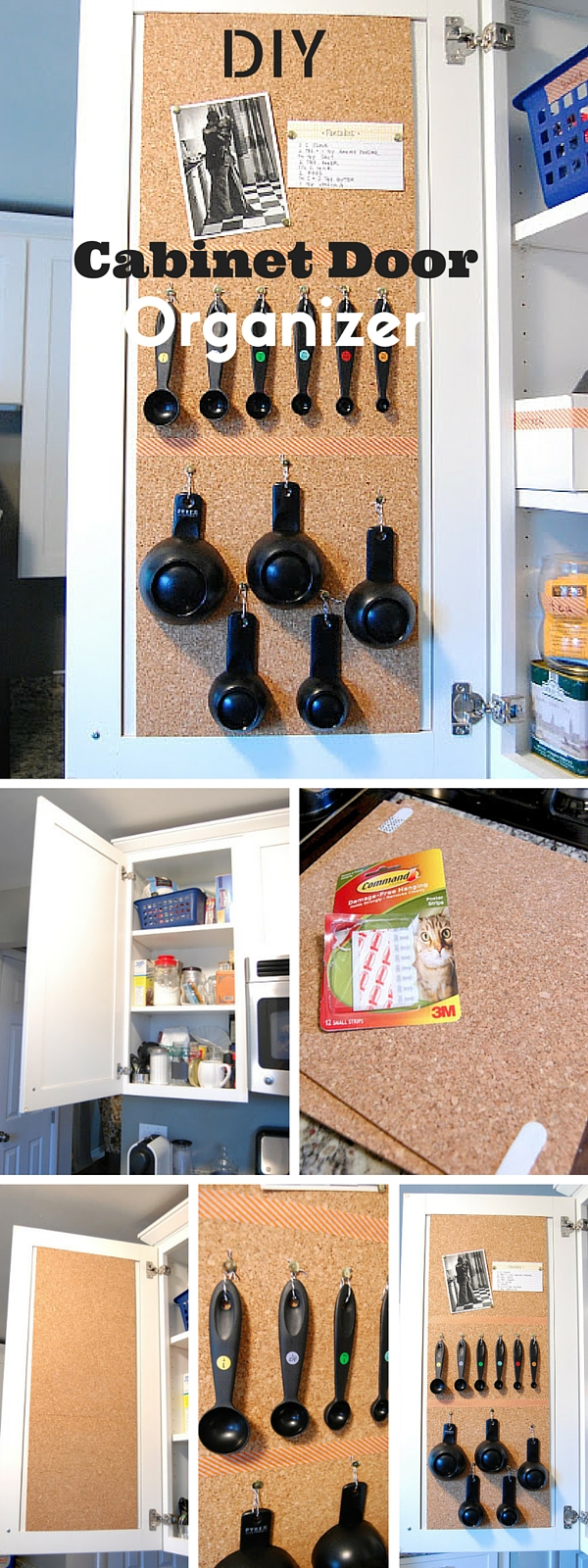 Check out the tutorial:  Cabinet Door Organizer