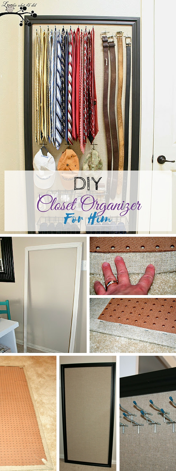 Check out the tutorial:  Closet Organizer for Him