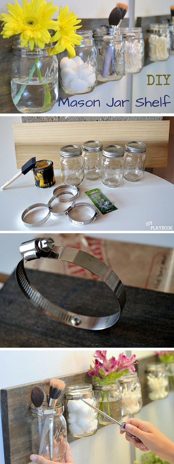 Check out the tutorial:  Mason Jar Shelves