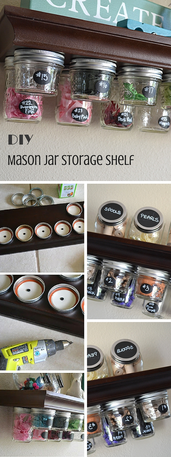 Check out the tutorial:  Mason Jar Storage Shelf