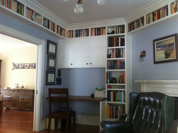 Contemporary book shelving home design in Santa Clara, CA