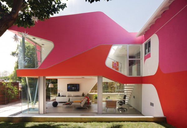 Futuristic Pink and Red House