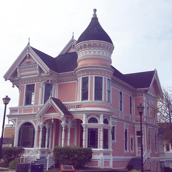Peach Pink Victorian House