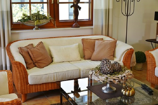 Beige Rattan Furniture in Living Room