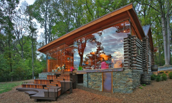 Log Cabin with Glass Walls