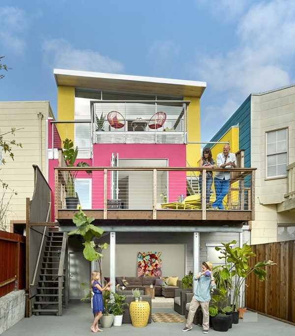 Modern Pink Yellow House