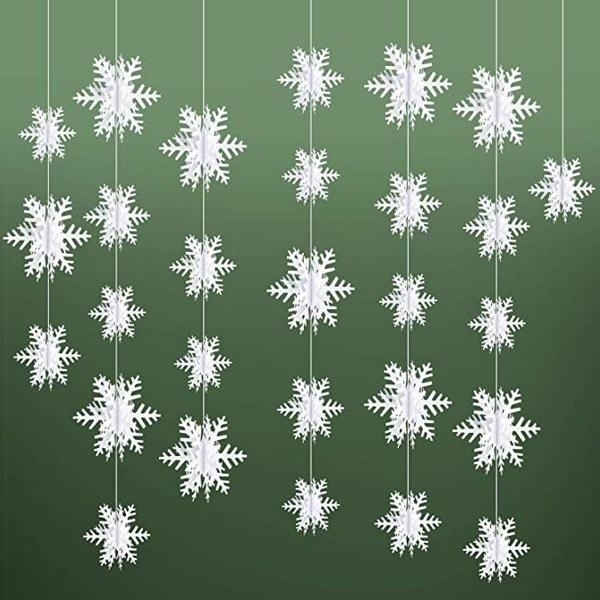 3D Paper Christmas Snowflake Garlands