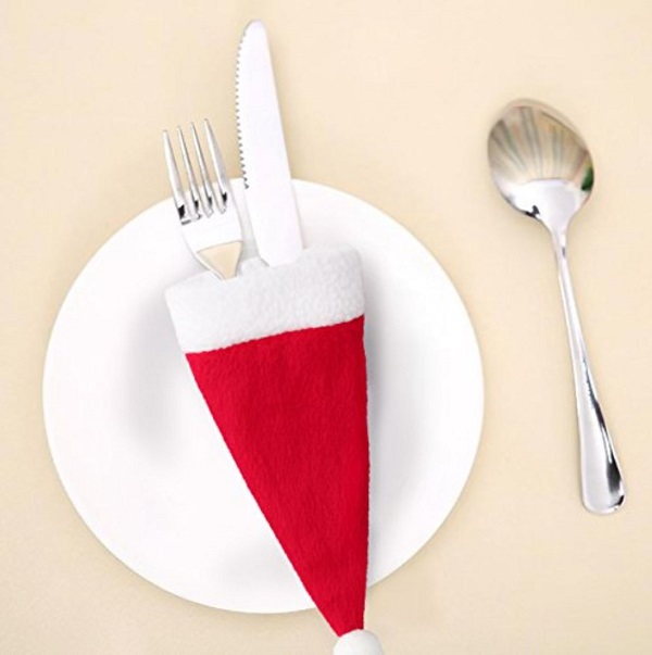 Santa Hat Silverware Holders