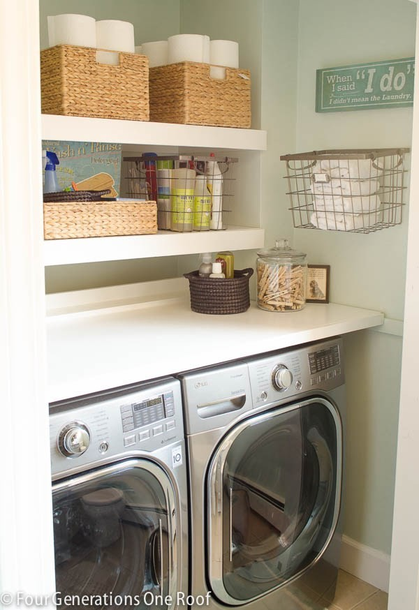 Our budget laundry room reveal {laundry closet}