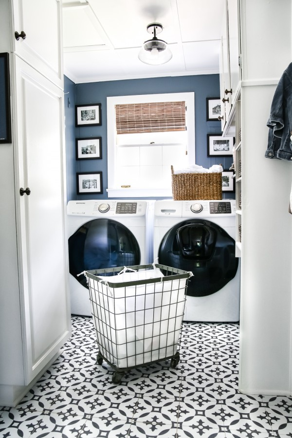 High Contrast Laundry Room Makeover Reveal