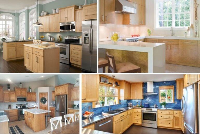 kitchen backsplash with maple cabinets