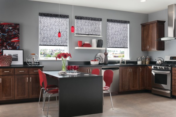 Roller and Solar Shades in Modern Kitchen