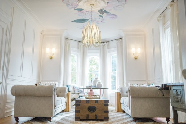 Modern Parisian Living Room Reveal: Wainscoting, Paint, Lighting #livingroom #homdecor #interiordesign #ceiling