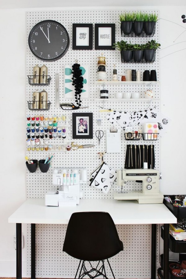 Use a pegboard to organize small things around your home