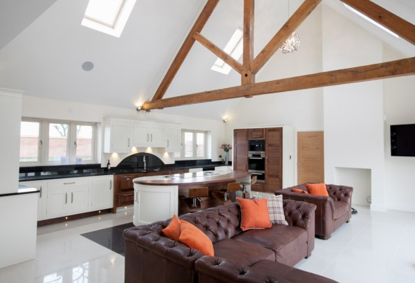 Stunning Walnut and Hand-painted Large Open Plan Kitchen