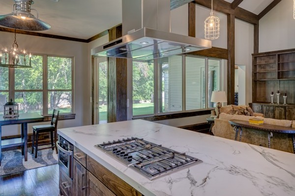 Transitional Rustic Style with Modern Countertops