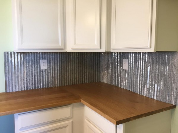 "Julie on Instagram: ""I'm loving this unique backsplash in my new kitchen! Can hardly wait till its all finished and we can move in. 😍 #backsplash #galvanized…"""