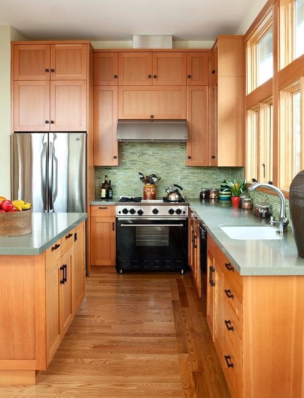 Medium tone wood shaker cabinets
