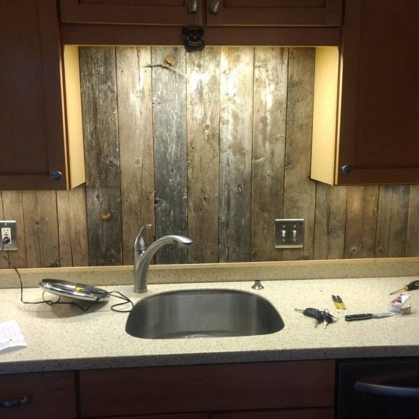 "Ron Stubbs on Instagram: ""Camp365 is getting a rustic touch in the kitchen! #lakehousemaine #lakehouse #repurposing #barnboards#rusticbacksplash #kitchenremodel"""