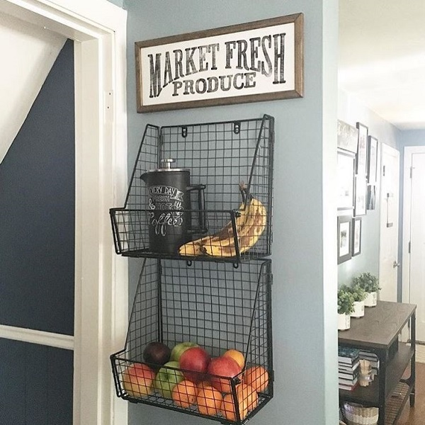 Fresh produce metal baskets