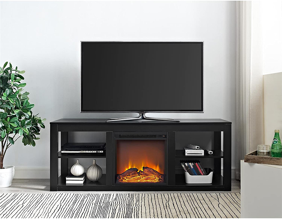 Black Tv Stand With Fireplace