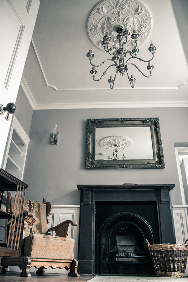 Mirror and mantel