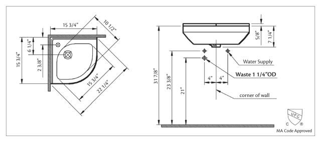 Corner sink dimensions