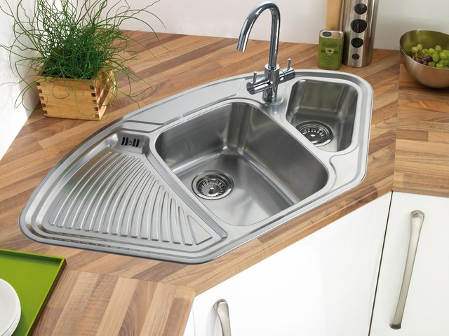 Corner stainless steel kitchen sink