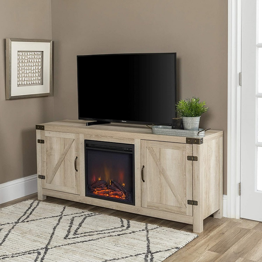 barndoor fireplace tv stand