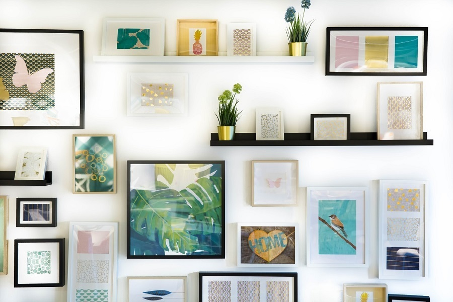 photo wall layered